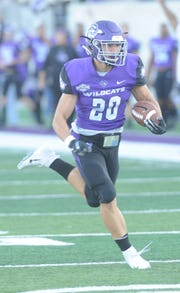 ACU's Billy McCrary runs 31 yards for the game's first touchdown with 5:26 left in the first quarter of the Southland Conference game Saturday, Sept. 29, 2018 at Wildcat Stadium.