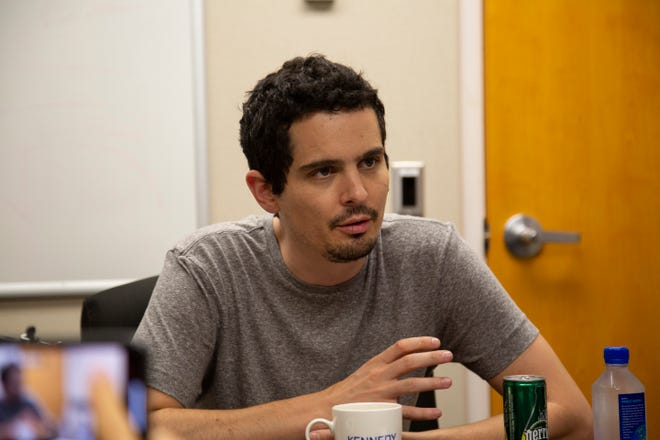 """Damien Chazelle, director of """"First Man,"""" speaks about the film at Kennedy Space Center on Sunday, Sept. 30, 2018."""