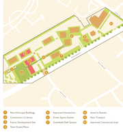 A conceptual map shows Cherry Hill's proposed municipal complex, in red, at the Kings Highway Office Park.