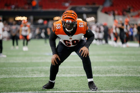 Cincinnati Bengals offensive tackle Bobby Hart (68) runs through drills before the NFL Week 5 game between the Atlanta Falcons and the Cincinnati Bengals at Mercedes-Benz Stadium in Atlanta on Sunday, Sept. 30, 2018.