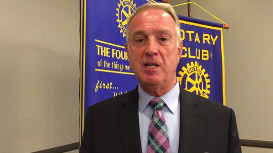 Boone County Judge-executive Gary W. Moore speaks at the Sept. 17, 2018, Florence Rotary Club meeting.