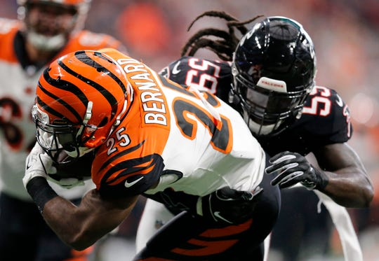 Cincinnati Bengals running back Giovani Bernard (25) is stopped at the goal line on a carry in the second quarter of the NFL Week 5 game between the Atlanta Falcons and the Cincinnati Bengals at Mercedes-Benz Stadium in Atlanta on Sunday, Sept. 30, 2018.