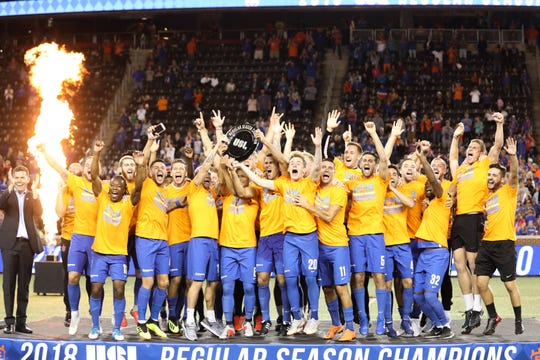 FC Cincinnati is awarded the 2018 USL Regular Season trophy after their match against Indy Eleven at Nippert Stadium. FC Cincinnati won the match with a final score of 3-0.