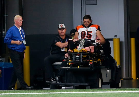 Cincinnati Bengals tight end Tyler Eifert (85) is carted off the field with an injury early in the third quarter of the NFL Week 5 game between the Atlanta Falcons and the Cincinnati Bengals at Mercedes-Benz Stadium in Atlanta on Sunday, Sept. 30, 2018.