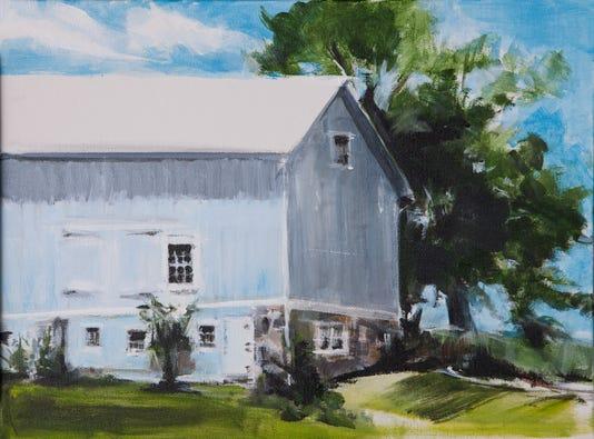 Blue Barn King St Acrylic On Canvas By Allene Stanton Fay