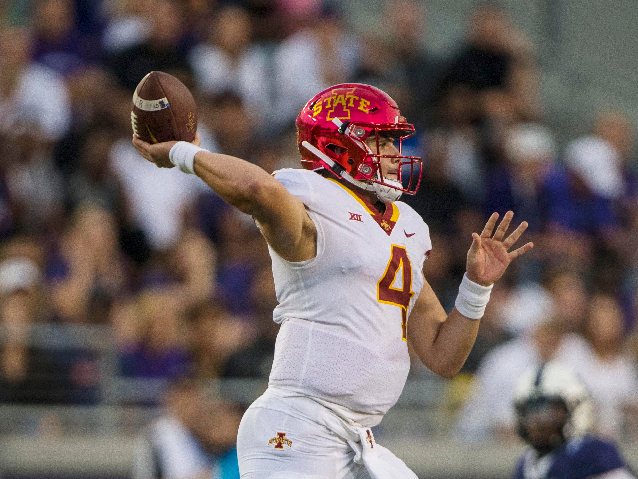 Iowa State Cyclones quarterback Zeb Noland (4) passes against the TCU Horned Frogs during the first half at Amon G. Carter Stadium.