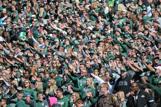 Michigan State fans cheer during the game against Central Michigan on Saturday, Sept. 29, 2018 at Spartan Stadium.