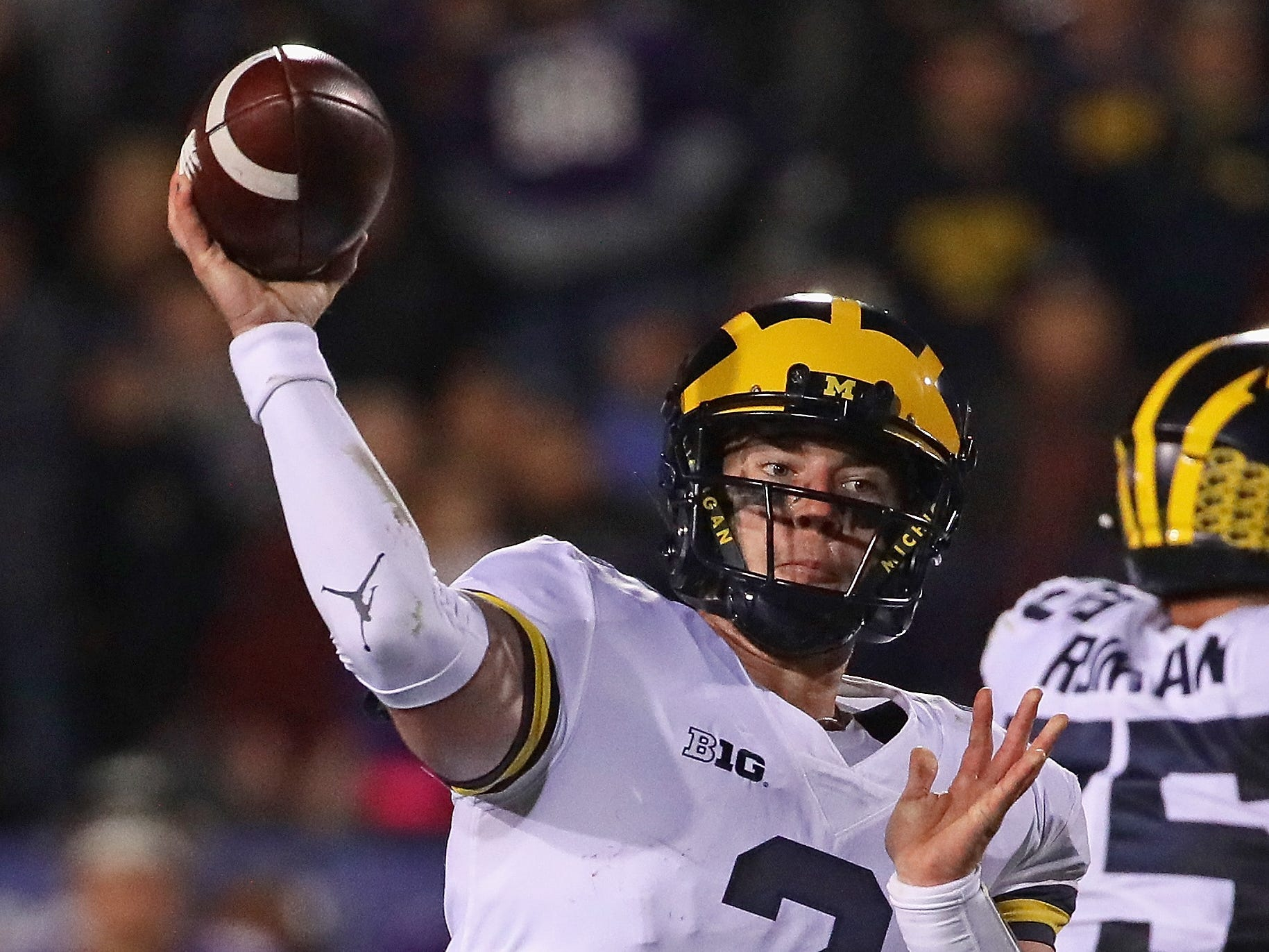 Michigan's Shea Patterson passes against Northwestern at Ryan Field on Sept. 29, 2018 in Evanston, Ill.
