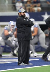 Lions coach Matt Patricia on the field prior to the game against the Cowboys on Sunday, Sept. 30, 2018, in Arlington, Texas.