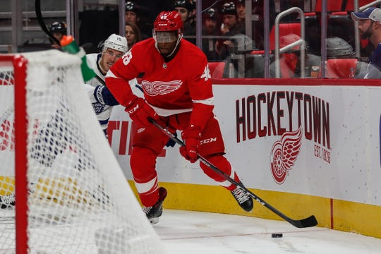 Red Wings defenseman Givani Smith during the first period of a preseason game against the Maple Leafs at Little Caesars Arena in Detroit, Saturday, Sept. 29, 2018.