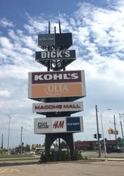 The iconic sign for recently renovated Macomb Mall in Roseville on Sept. 21, 2018