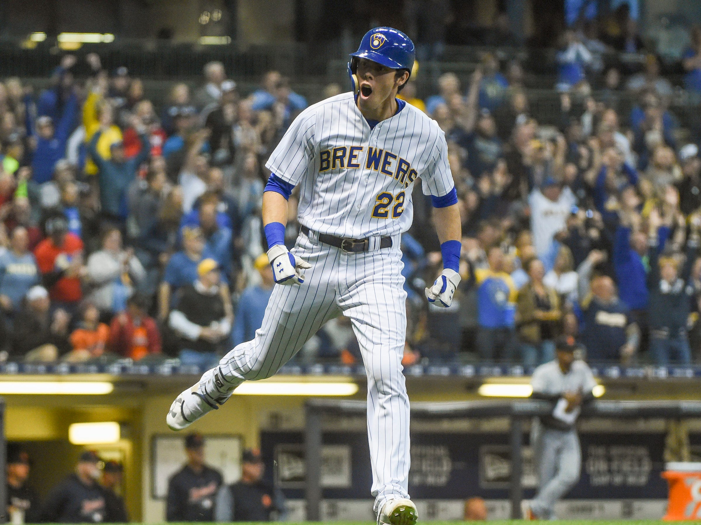 Milwaukee Brewers right fielder Christian Yelich reacts after hitting a solo home run in the seventh inning against the Detroit Tigers at Miller Park  on Sept. 29, 2018 in Milwaukee.