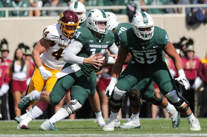 Right tackle Jordan Reid (55) has been the only player to start all five games for Michigan State this season on an offensive line that has given up 12 sacks of quarterback Brian Lewerke (14).