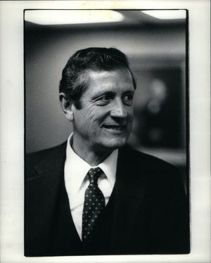 Former Chief Justice of the Michigan Supreme Court Thomas Brennan, who ran for U.S Senate in 1976 and for lieutenant governor in 1982, was president of Cooley Law School in Lansing. He was born in Detroit in 1929. This photo is dated March 9, 1983.