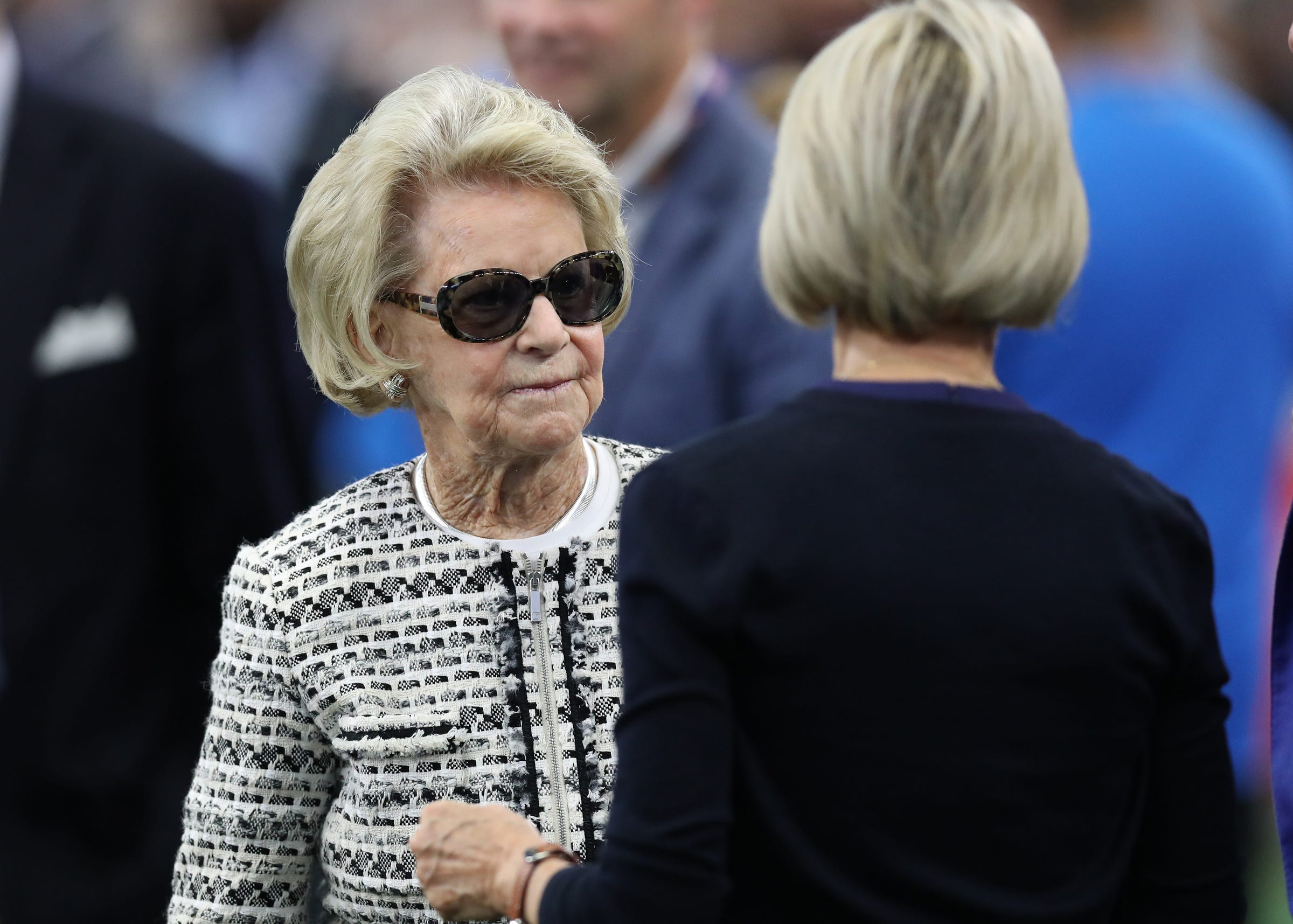 Lions owner Martha Ford on the sidelines prior to the game against the Cowboys on Sunday, Sept. 30, 2018, in Arlington, Texas.