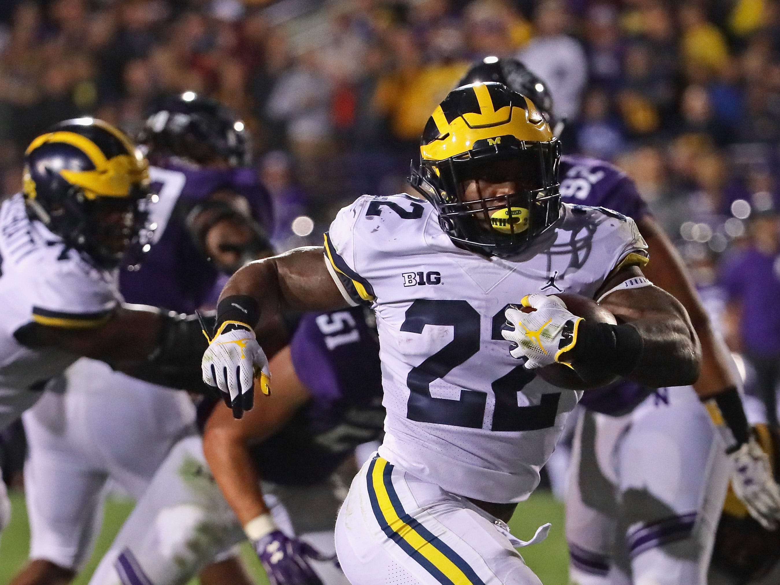 Michigan's Karan Higdon scores the go-ahead touchdown against Northwestern during the fourth quarter at Ryan Field on Sept. 29, 2018 in Evanston, Ill.