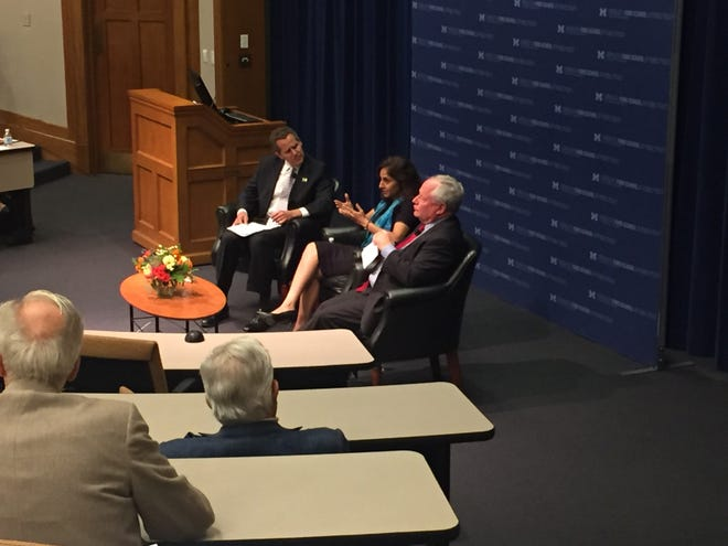 Michael Barr, dean of the University of Michigan Gerald R. Ford School of Public Policy listens to Neera Tanden, President and CEO of the Center for American Progress and Bill Kristol, Founder and Editor of The Weekly Standard talk on Sunday, Sept. 30, 2018.