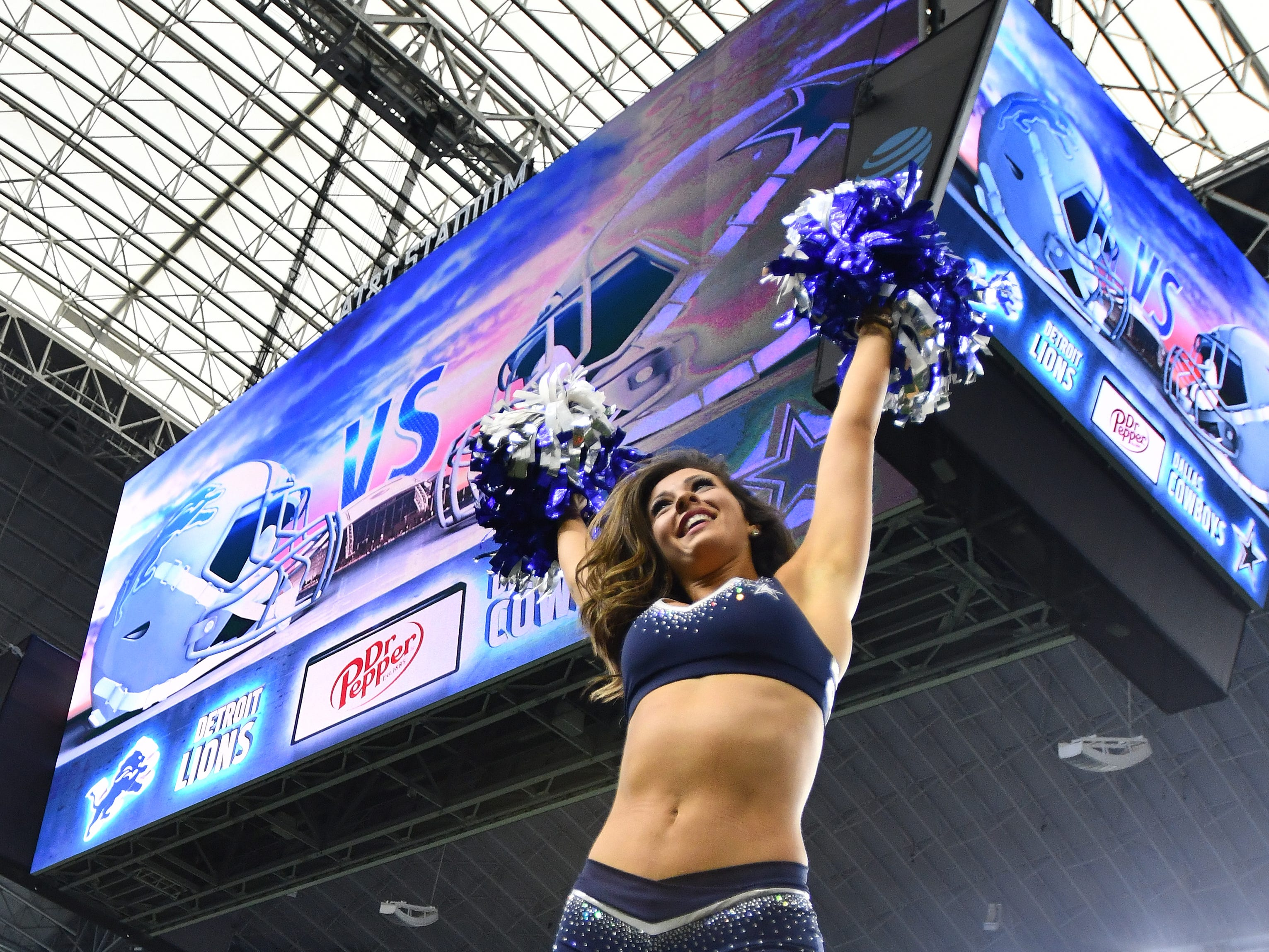 Dallas Cowboy Cheerleaders warm up early Sunday morning before the Detroit Lions take on the Dallas Cowboys at AT&T Stadium in Arlington, Texas on September 30, 2018