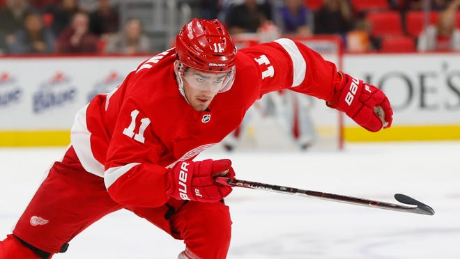 Detroit Red Wings' Filip Zadina skates against the Toronto Maple Leafs in the third period of an preseason NHL hockey game Saturday.