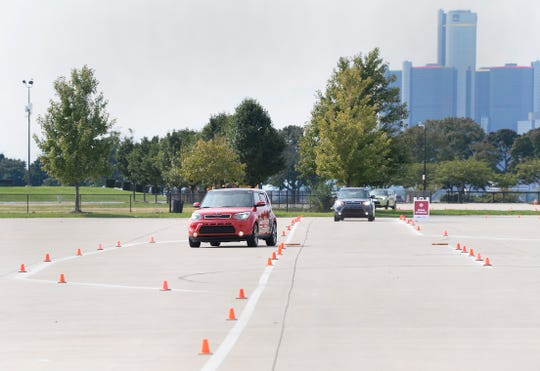 Teens drive through the crash avoidance course.  Young drivers participating in the B.R.A.K.E.S. Teen Pro Active Driving School at Belle Isle Park. September 30, 2018. Detroit, MI.