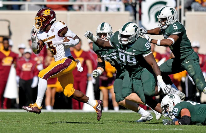 Michigan State held Central Michigan to 63 yards rushing on 22 attempts on Saturday.