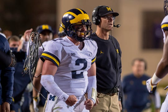 Michigan quarterback Shea Patterson was 15-for-24 for 196 yards passing. He also rushed seven times for 31 yards Saturday against Northwestern.