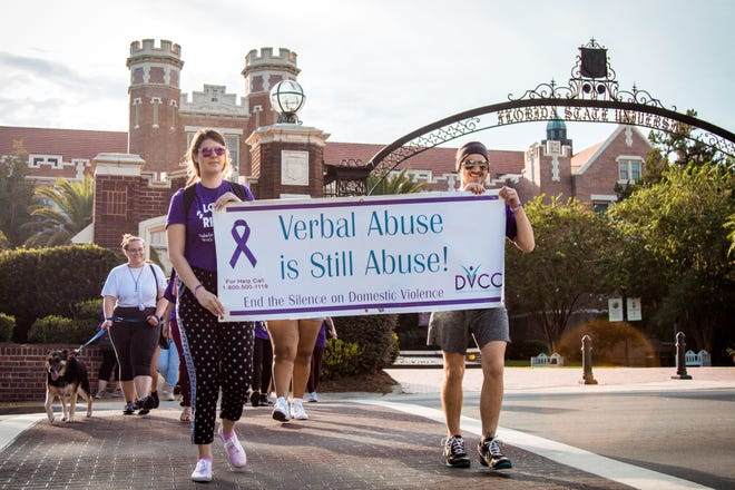 """FSU students and faculty joined together on Tuesday, Sept. 25, in a march to """"End the Silence on Domestic Violence."""""""