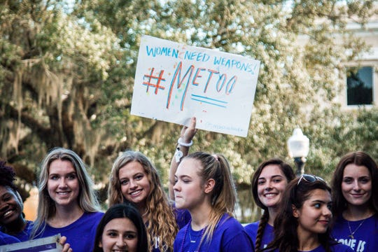 """FSU students and faculty joined together on Tuesday, September 25th in a march to """"End the Silence on Domestic Violence."""