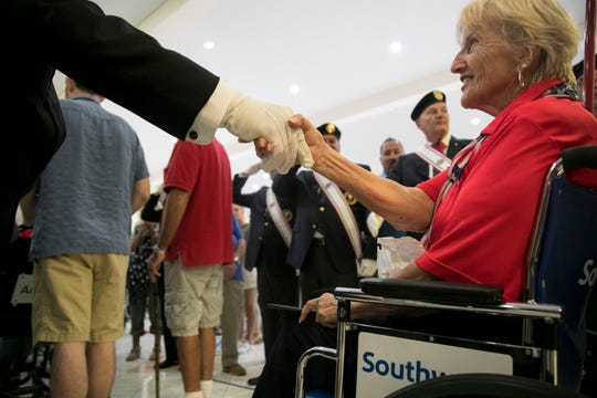 Korean War veteran Lorrie Blanchard is welcomed home from her trip on the Collier-Lee Honor Flight on Saturday at Southwest Florida International Airport.