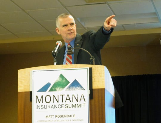 In this Wednesday, Sept. 26, 2018, photo, Montana State Auditor Matt Rosendale points to an audience member while speaking at an insurance conference in Helena, Mont. Rosendale is meeting Democratic U.S. Sen. Jon Tester in a debate on Saturday night, Sept. 29, for Tester's seat. (AP Photo/Matt Volz)