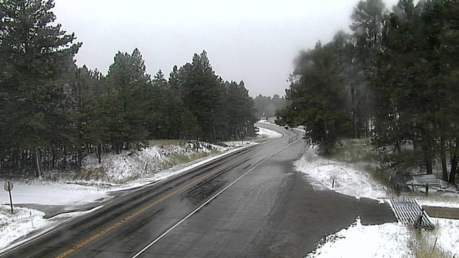 The Lewistown Divide on Highway 200, which sits at an elevation of 4,622 feet, in central Montana at 4:30 p.m. Sunday.
