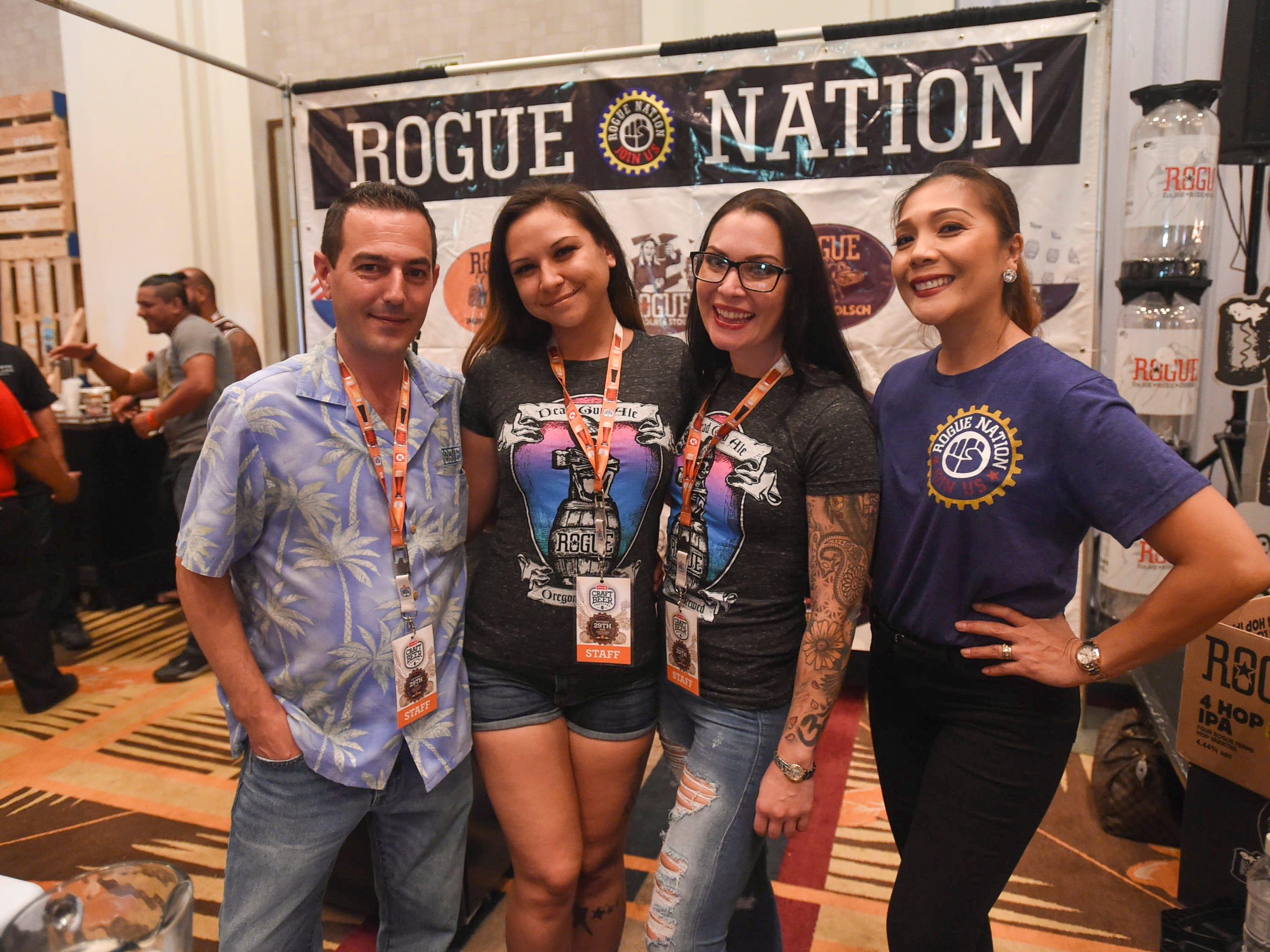 The Rogue Nation crew during the Circle K Craft Beer Festival at the Sheraton Laguna Guam Resort, Sept. 29, 2018. From left: Matt Beck, Anastasia Sablan, Mary Lee Szabo, and Stephanie Mayfield.