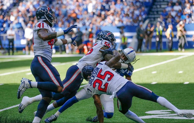 TY Hilton sufferd a chest injury in the first quarter against the Texans