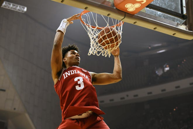 Indiana Hoosiers foward Justin Smith (3) dunks the ball during Hoosier Hysteria at Simon Skjodt Assembly Hall in Bloomington, Ind., on Saturday, Sept. 29, 2018.