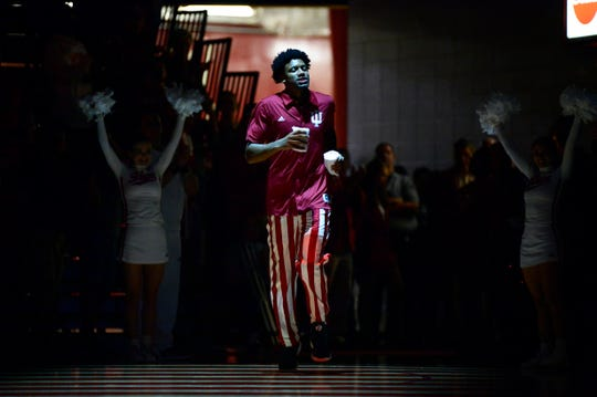 Indiana Hoosiers forward Jerome Hunter (21) is introduced during Hoosier Hysteria at Simon Skjodt Assembly Hall in Bloomington, Ind., on Saturday, Sept. 29, 2018.