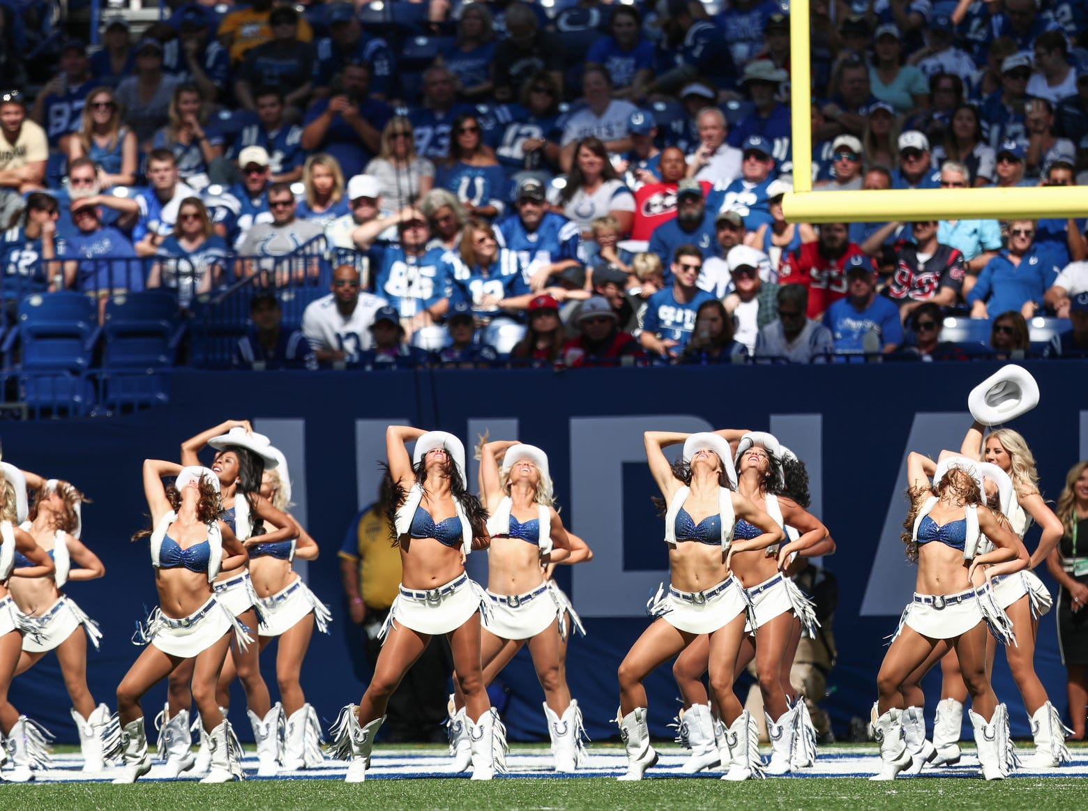 The Indianapolis Colts cheerleaders perform at Lucas Oil Stadium on Sunday, Sept. 30, 2018.