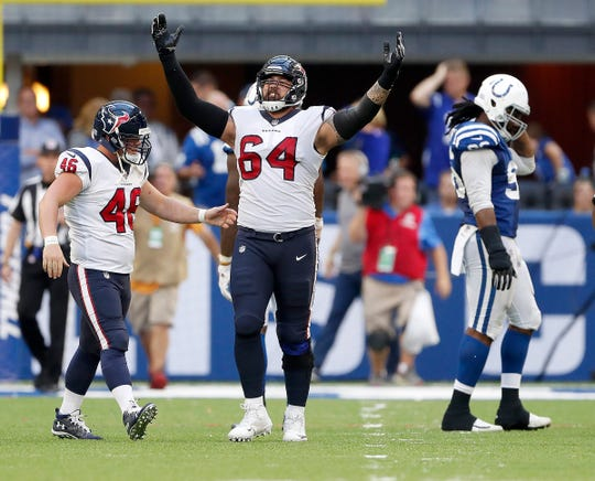 Houston Texans offensive guard Senio Kelemete (64) celebrates the game winning field goal in overtime of their game on Sunday, Sept. 30, 2018. The Indianapolis Colts lost 37-34 in overtime to the Houston Texans.