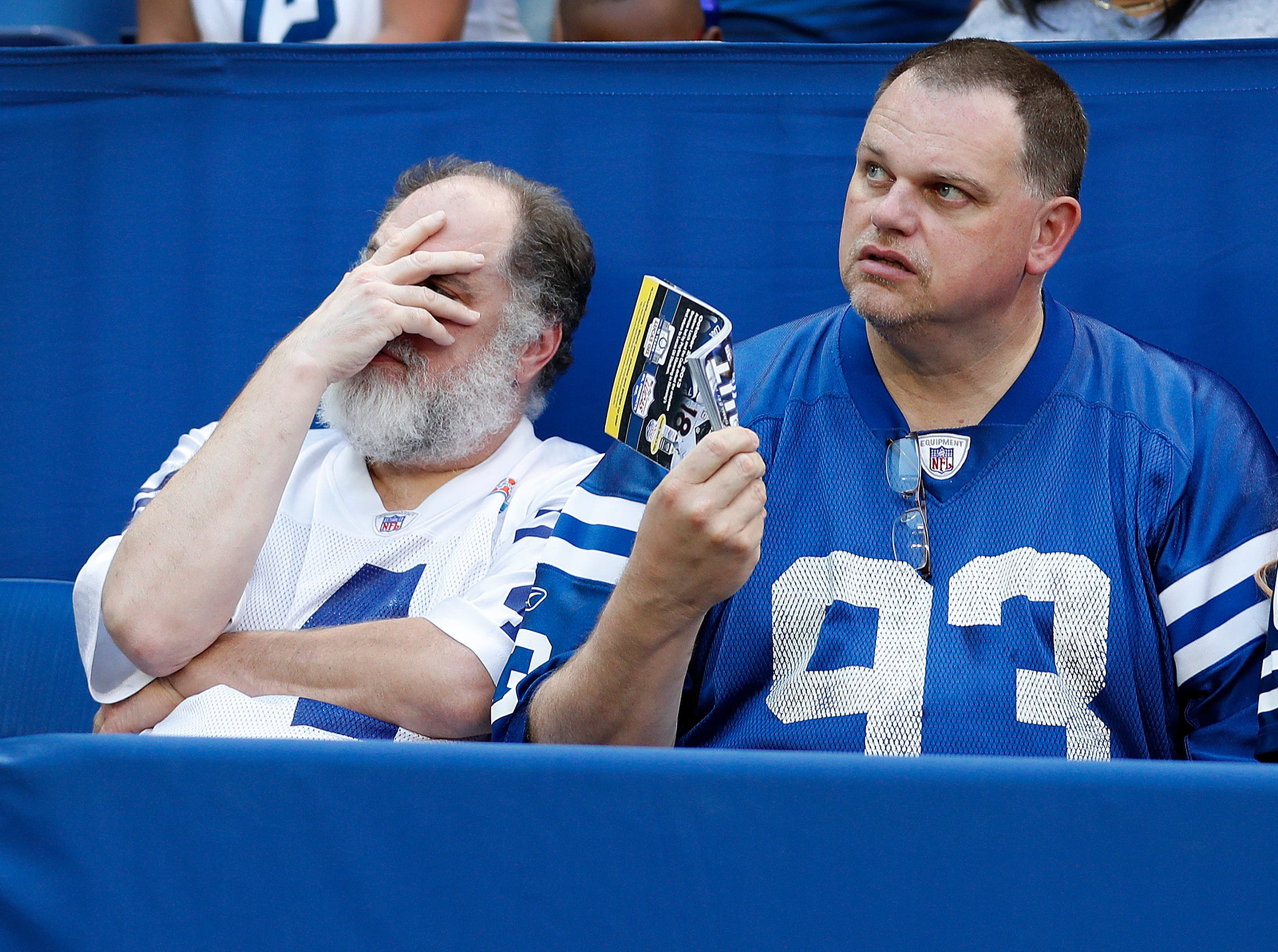 Dejected Colts fans late in the second half of their game on Sunday, Sept. 30, 2018. The Indianapolis Colts lost 37-34 in overtime to the Houston Texans.