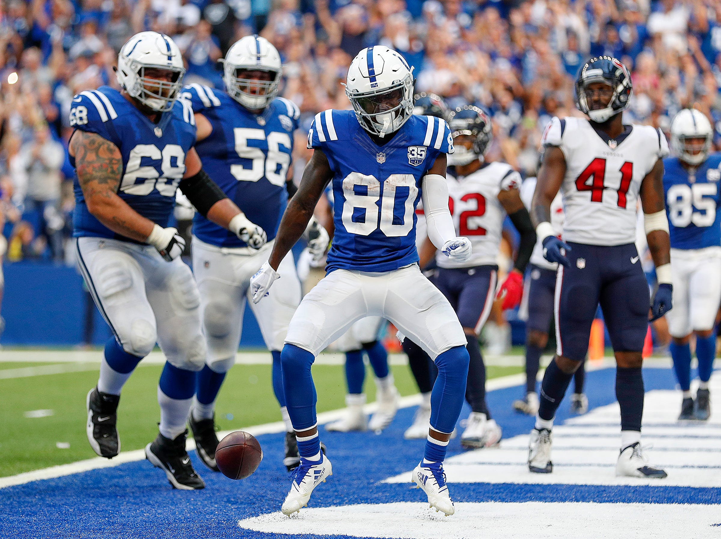 Indianapolis Colts wide receiver Chester Rogers (80) celebrates his two-point conversion catch in the second half of their game on Sunday, Sept. 30, 2018. The Indianapolis Colts lost 37-34 in overtime to the Houston Texans.