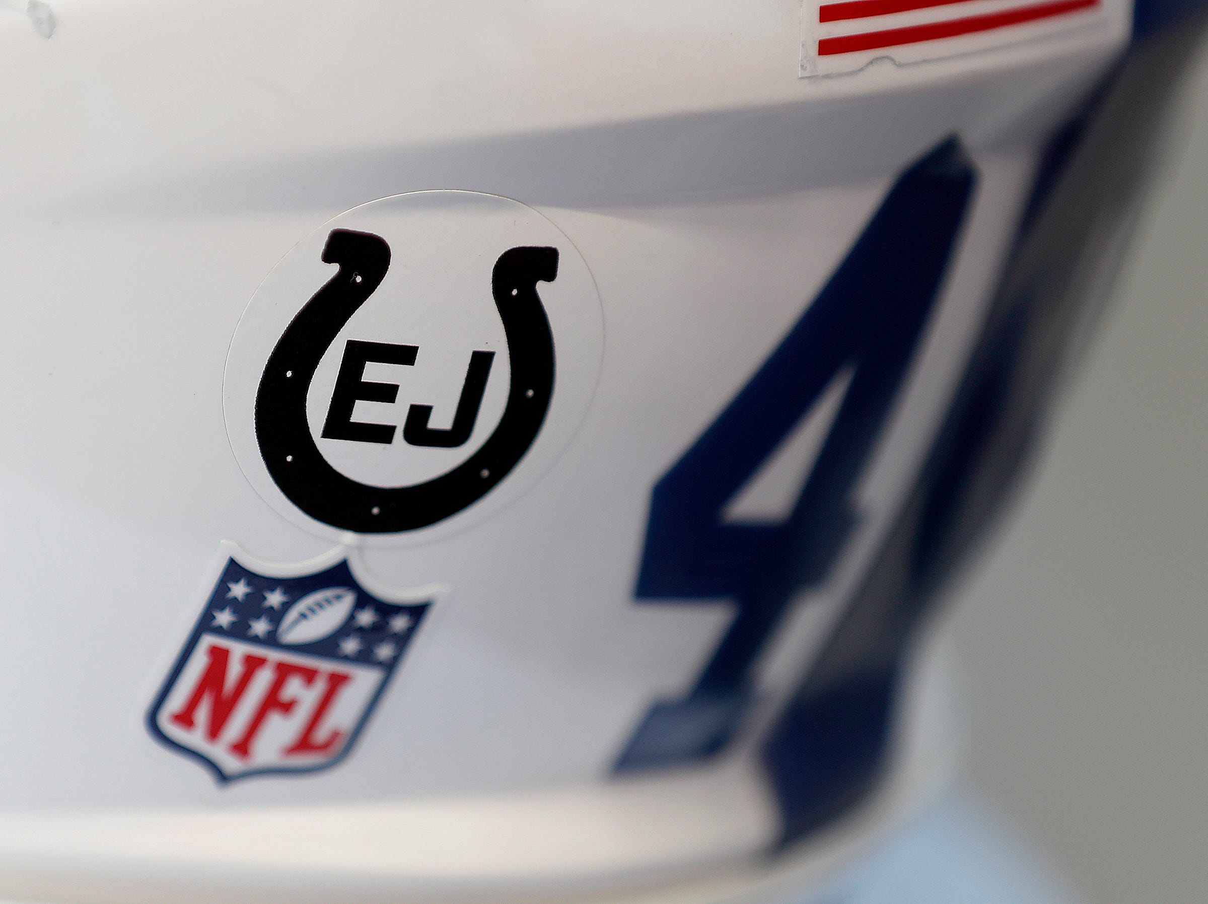 The Indianapolis Colts honored Edwin Jackson with a sticker on their helmets during their game on Sunday, Sept. 30, 2018. The Indianapolis Colts lost 37-34 in overtime to the Houston Texans.