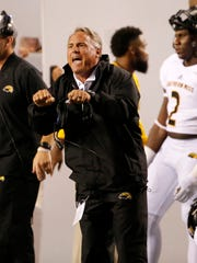 Sep 29, 2018; Auburn, AL, USA; Southern Miss Golden Eagles head coach Jay Hopson yells at an official during the second quarter against the Auburn Tigers at Jordan-Hare Stadium. Mandatory Credit: John Reed-USA TODAY Sports