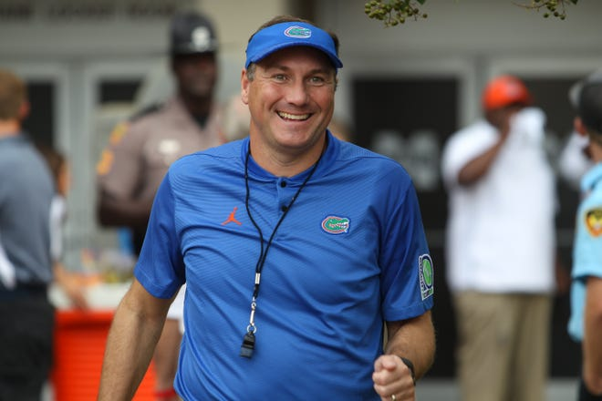 Florida head football coach Dan Mullen before the game. Mississippi State and Florida played in an SEC college football game on Saturday, September 29, 2018, in Starkville. Photo by Keith Warren/Madatory Photo Credit