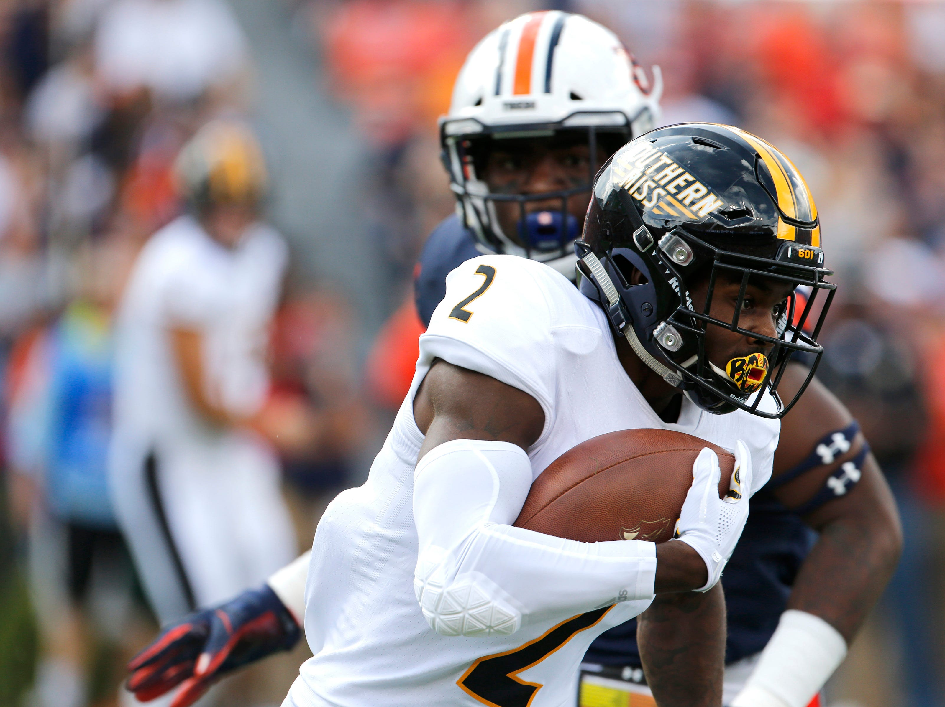 Sep 29, 2018; Auburn, AL, USA; Southern Miss Golden Eagles receiver Jaylond Adams (2) carries against the Auburn Tigers during the first quarter at Jordan-Hare Stadium. Mandatory Credit: John Reed-USA TODAY Sports