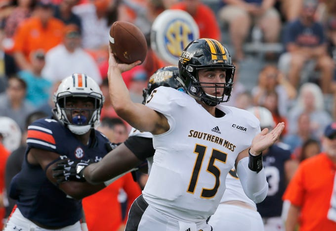 Sep 29, 2018; Auburn, AL, USA; Southern Miss Golden Eagles quarterback Jack Abraham (15) throws a pass against the Auburn Tigers during the first quarter at Jordan-Hare Stadium. Mandatory Credit: John Reed-USA TODAY Sports