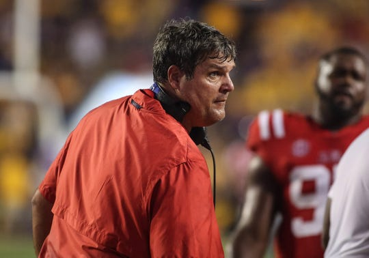 Sep 29, 2018; Baton Rouge, LA, USA; Ole Miss Rebels head coach Matt Luke during the second quarter of a game against the LSU Tigers at Tiger Stadium. Mandatory Credit: Derick E. Hingle-USA TODAY Sports