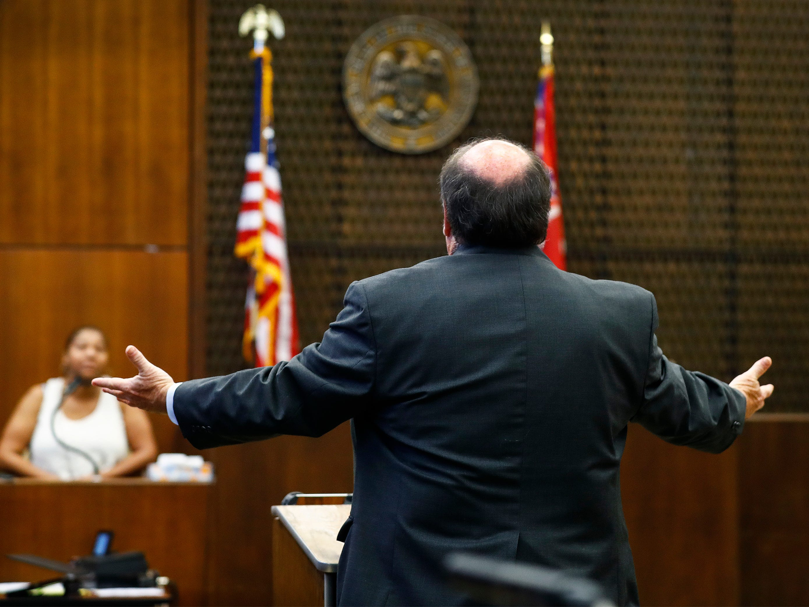 Lead prosecutor John Champion speaks during the retrial of Quinton Tellis in Batesville, Miss., on Sunday, Sept. 30, 2018. Tellis is charged with burning 19-year-old Jessica Chambers to death almost four years ago on Dec. 6, 2014. Tellis has pleaded not guilty to the murder.