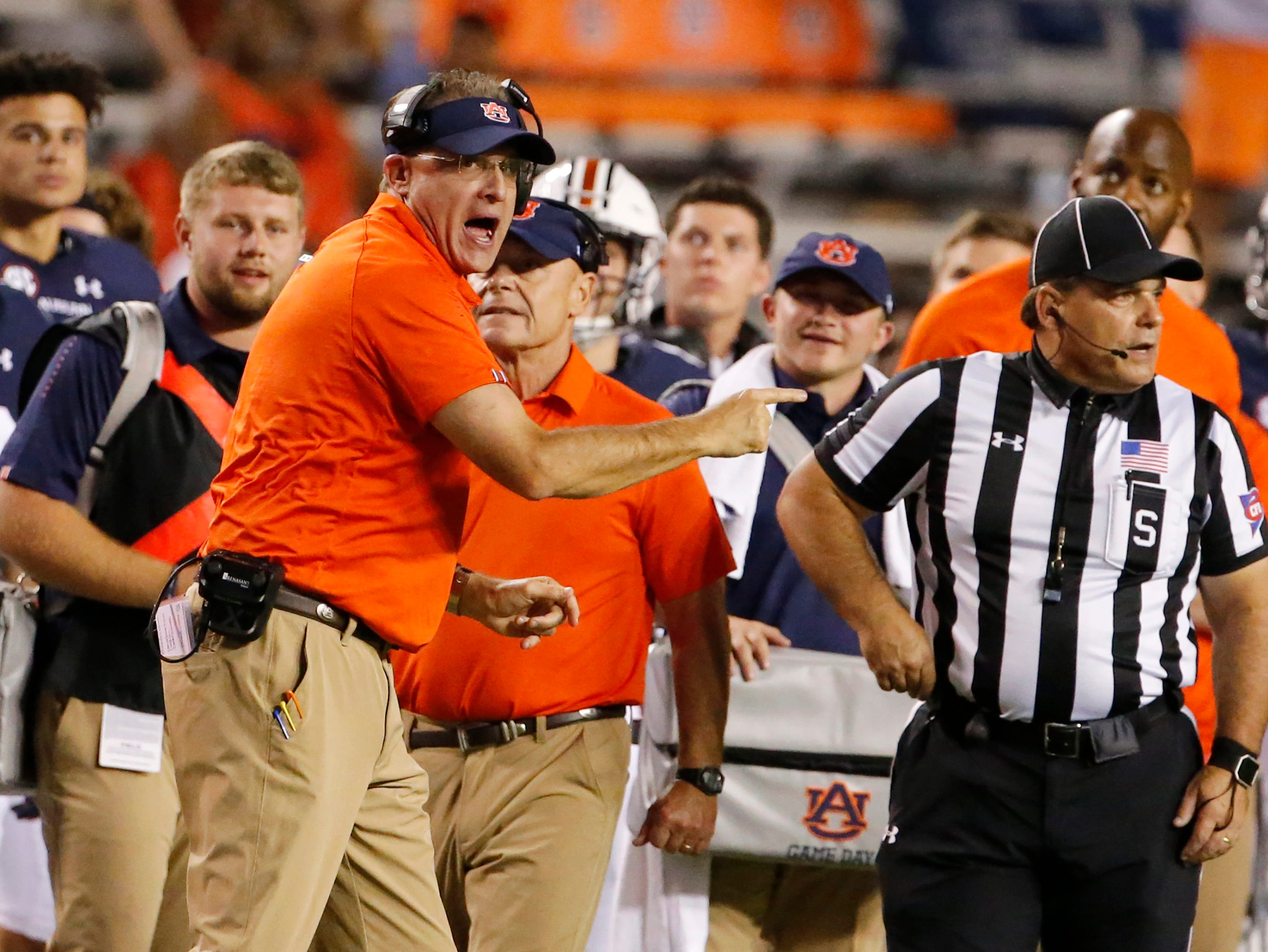 Sep 29, 2018; Auburn, AL, USA; Auburn Tigers head coach Gus Malzahn yells at an official during the second quarter against the Southern Miss Golden Eagles at Jordan-Hare Stadium. Mandatory Credit: John Reed-USA TODAY Sports