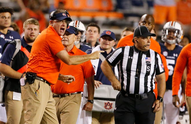 Auburn head coach Gus Malzahn, under fire after two straight SEC losses, desperately needs a win at Ole Miss on Saturday.