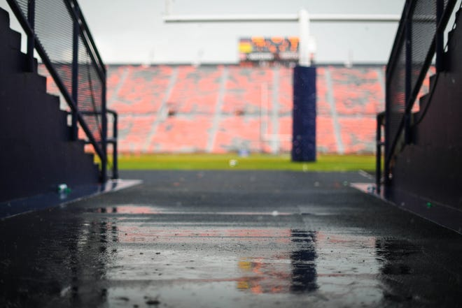 View of the tunnel onto the field during a rain delay between the Auburn Tigers and Southern Mississippi at Jordan-Hare Stadium on Sept. 29, 2018.