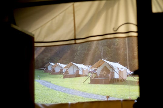 A row of tents at Under Canvas Great Smoky Mountains in Pigeon Forge, Tenn., on Saturday, Sept. 29, 2018.